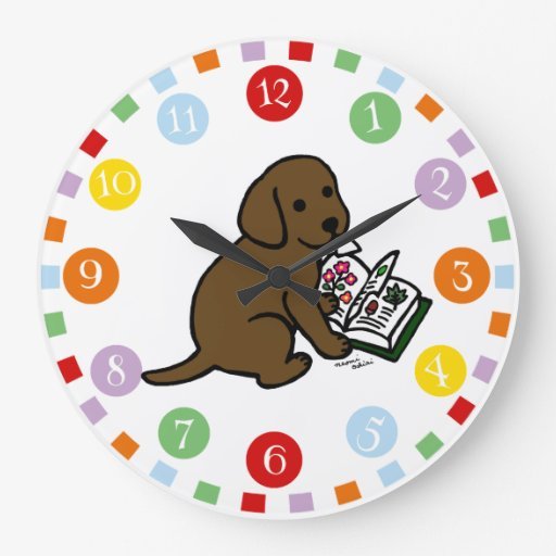 Curious Chocolate Labrador Puppy Large Clock