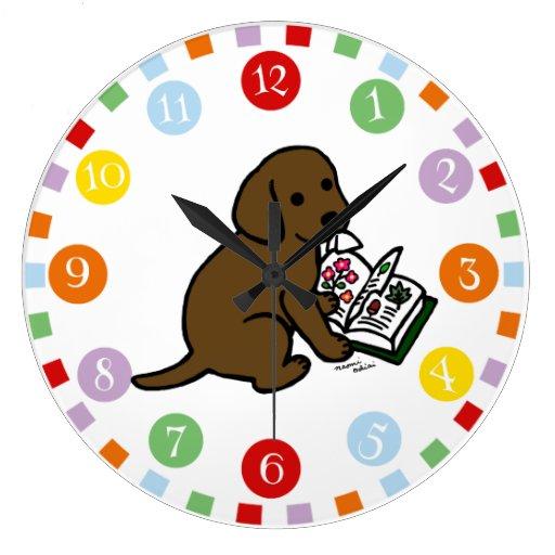 Curious Chocolate Labrador Puppy Large Clock