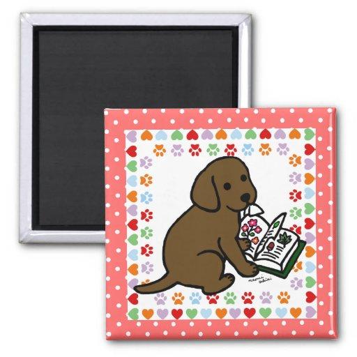Curious Chocolate Labrador Puppy Magnet