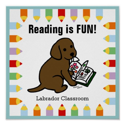 Curious Chocolate Labrador Puppy Reading Poster