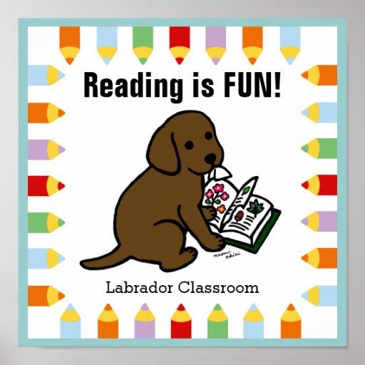 Curious Chocolate Labrador Puppy Reading Poster