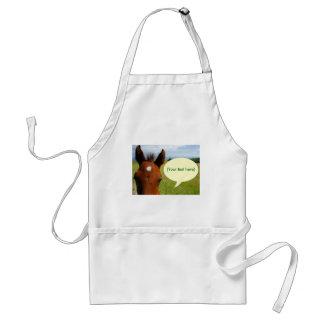 Curious colt with talk bubble adult apron