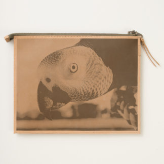 Curious Congo African Grey Parrot Travel Pouch