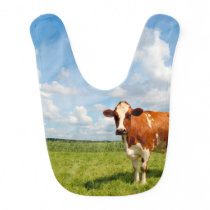 Curious cow standing on meadow. baby bib