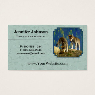 Curious Cute Baby Wolves Light Green Business Card