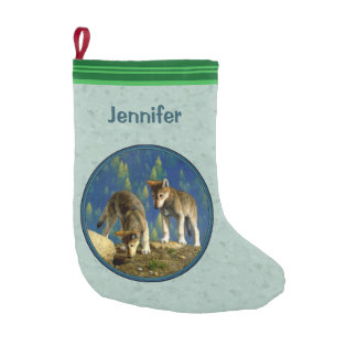 Curious Cute Baby Wolves Light Green Small Christmas Stocking