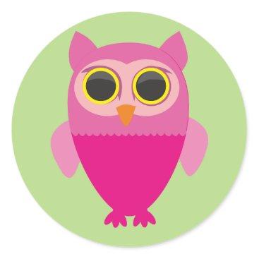 USA Themed Curious cute owl. classic round sticker