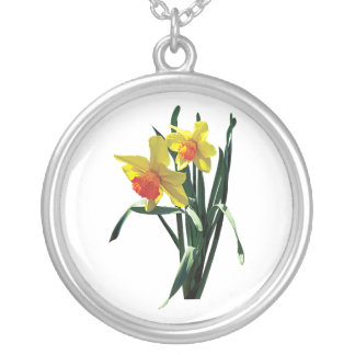 Curious Daffodils Round Pendant Necklace