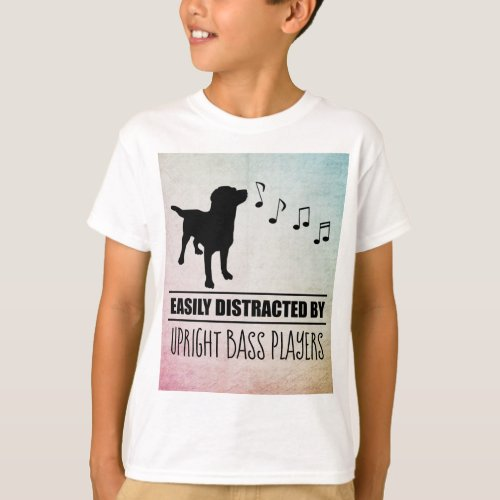Curious Dog Easily Distracted by Upright Bass Players Music Notes Basic T-Shirt