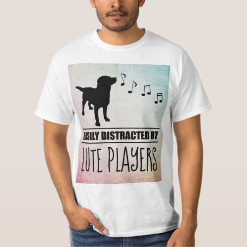 Curious Dog Easily Distracted by Lute Players Music Notes Value T-Shirt