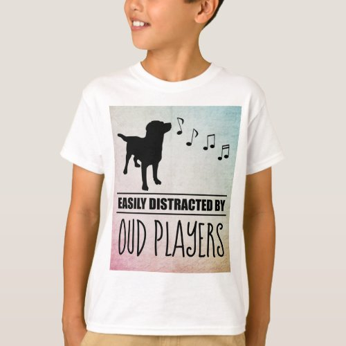 Curious Dog Easily Distracted by Oud Players Music Notes Basic T-Shirt