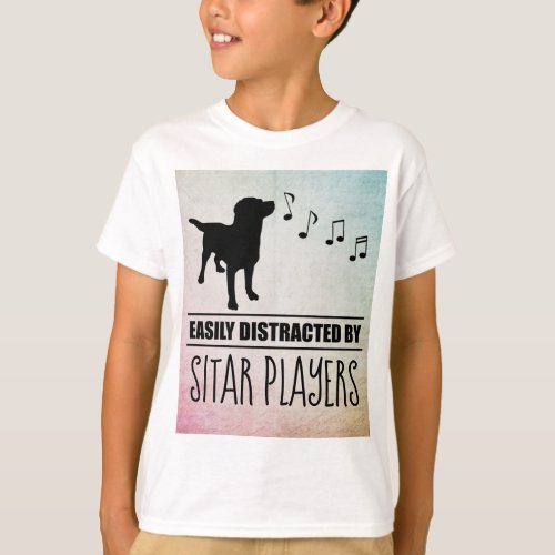 Curious Dog Easily Distracted by Sitar Players Music Notes Basic T-Shirt