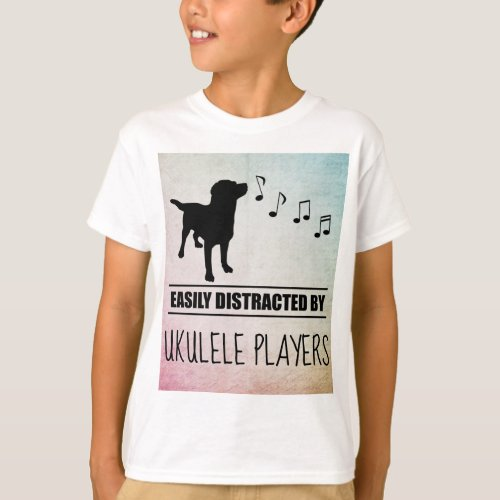 Curious Dog Easily Distracted by Ukulele Players Music Notes Basic T-Shirt