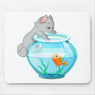 Curious Fishing Cat Mouse Pad