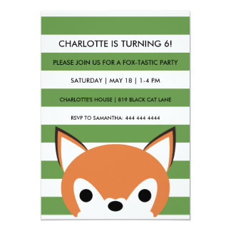 Curious Fox | Green Stripes | Birthday Party Card