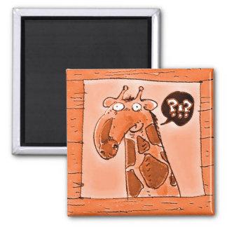 curious funny giraffe cartoon magnet