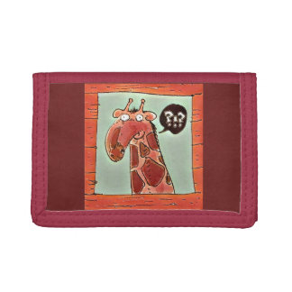 curious funny giraffe looking from window cartoon tri-fold wallet