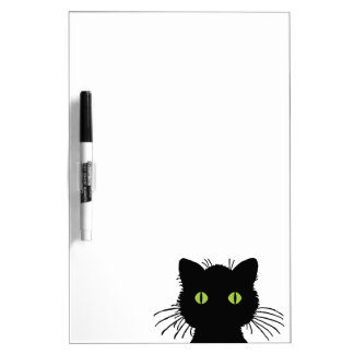 Curious Green-Eyed Black Cat Design Dry-Erase Board