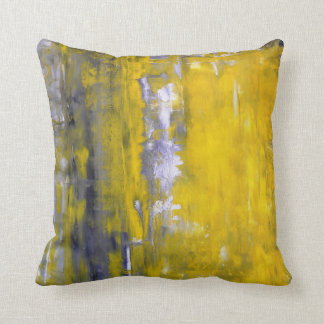 'Curious' Grey and Yellow Abstract Art Pillow