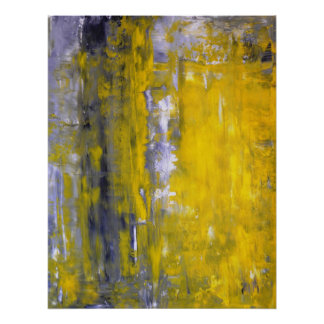 'Curious' Grey and Yellow Abstract Art Poster