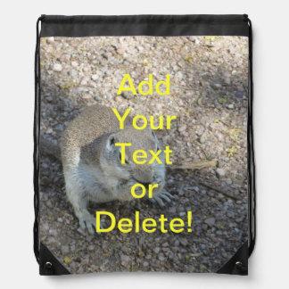 Curious Ground Squirrel Drawstring Bag