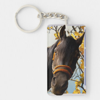 Curious Horse Looking Through The Kitchen Window Keychain