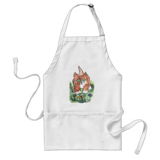 Curious Kitten and Two Blue Butterflies Adult Apron