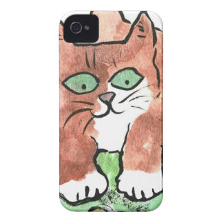 Curious Kitten and Two Blue Butterflies iPhone 4 Cover