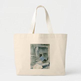 Curious Kitten Peeking In Artwork Tote Bags