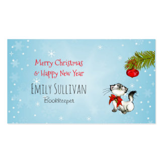 Curious Kitty Cat In A Red Christmas Bow Business Card