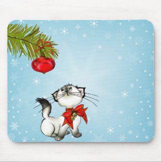 Curious Kitty Cat In A Red Christmas Bow Mouse Pad