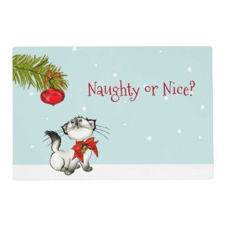 Curious Kitty Cat In A Red Christmas Bow Placemat