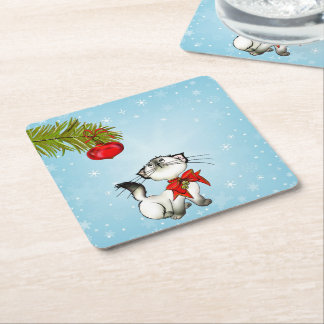Curious Kitty Cat In A Red Christmas Bow Square Paper Coaster