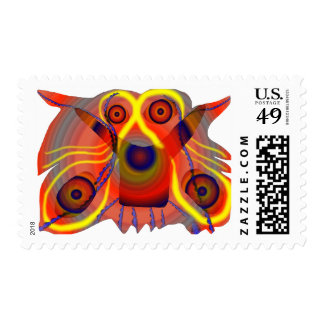 Curious lion dog postage