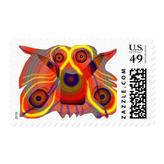 Curious lion dog postage