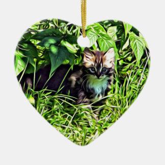 Curious little kitten ceramic ornament