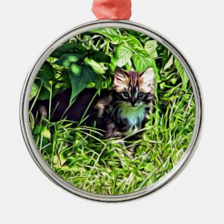 Curious little kitten metal ornament
