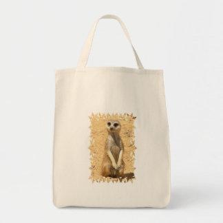 Curious Meerkat Grocery Tote Bag
