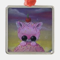cat, sugar, fueled, sugarfueled, pink, kitten, coallus, michael, banks, icecream, rainbow, Ornament with custom graphic design