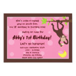 Curious Monkey Pink Personalized Invitations