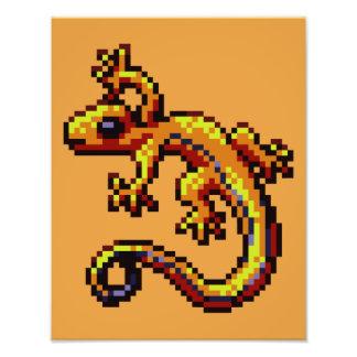 Curious Orange Lizard Blue Stripe Pixel Photo