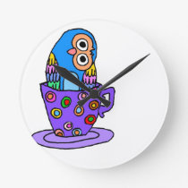 Curious Owl in a Teacup Round Clock