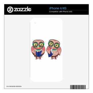 Curious Owl in Teal Glasses2 Decal For iPhone 4