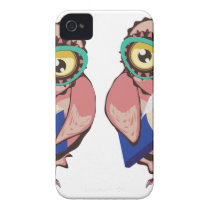 Curious Owl in Teal Glasses2 iPhone 4 Case-Mate Case