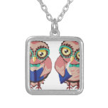 Curious Owl in Teal Glasses2 Silver Plated Necklace