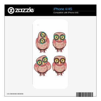 Curious Owl in Teal Glasses Skins For iPhone 4