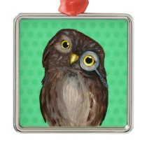 Curious Owl Metal Ornament