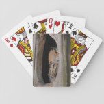 Curious Owl Peeking From Home Playing Cards