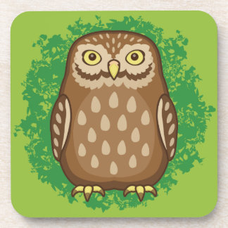 Curious Owl Staring Drink Coaster