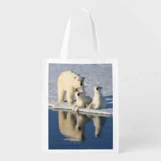 Curious Polar Bear Family Market Totes